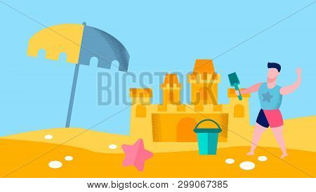 Seashore Games For Boy Flat Vector Illustration. Male Toddler Playing With Bucket And Toy Spade. Chi