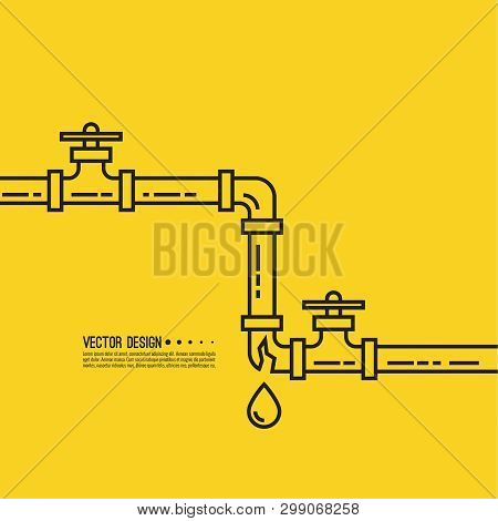 Leaking Water Pipes. Broken Pipeline With Leakage, Dripping Fittings. Vector Illustration