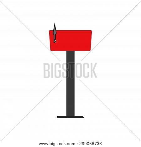 Mail Box Red Symbol Communication Shipping Post Vector Icon. Deliver Cargo Receive Postal Element Le