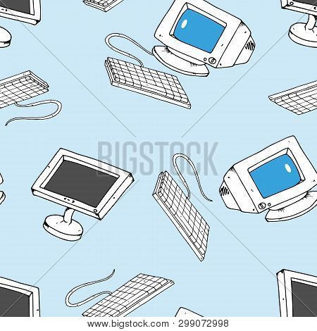Hand Drawn Crt Monitor. Seamless Pattern. Vector Illustration Of Old And New Monitors. Keyboard With
