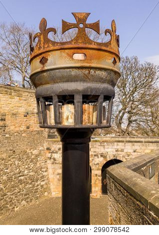 Edinburgh, Scotland - April, 17, 2019: A Vintage Metal  Communications Beacon In The Castle Ramparts