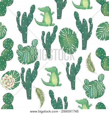Pattern With Cute Croc Dandy And Cactus Watercolor Animal. Cute Baby Greeting Card. Boho Flowers And
