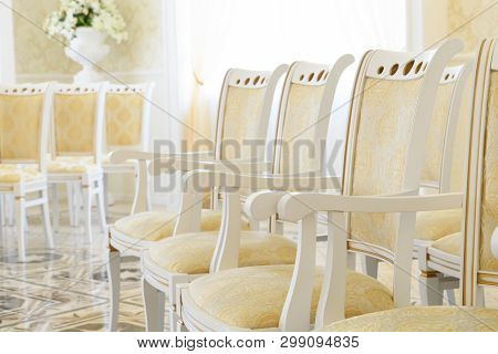 Snow-white Chairs With A Brand New Golden Upholstery Of Seats And Backs With A Gold Pattern