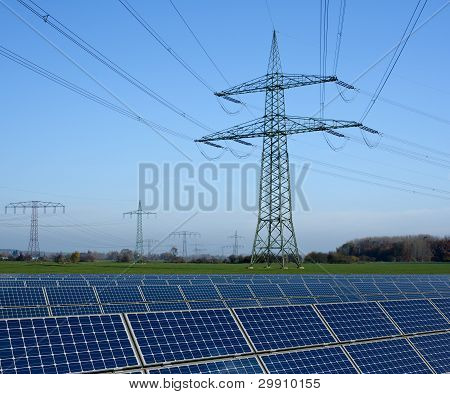 Solar Park And Power Line
