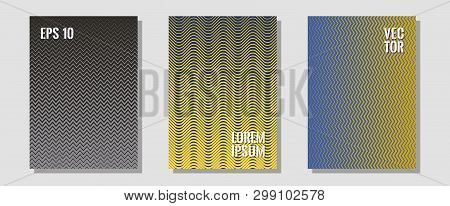 Halftone Flat Patterns Abstract Vector Set. Music Placards. Zigzag Halftone Lines Wave Stripes Backd