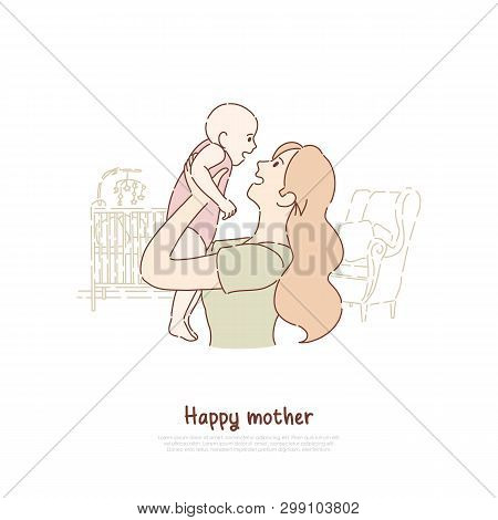 Happy Mother Holding Newborn Child, Cheerful Lady Playing With Toddler, Female Happiness, Babysittin