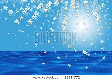 snow over ocean illustration