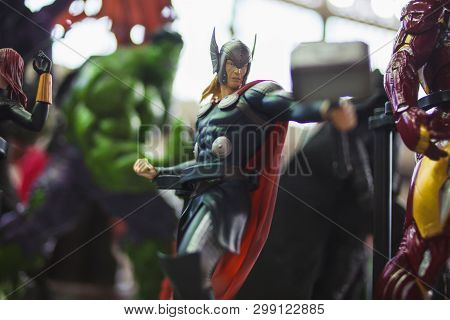 Saint Petersburg, Russia - April 27, 2019: Characters Of The Film Universe Marvel, Thor. Figures Com