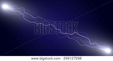 Electric Lightning Thunder, Power Electrical Energy, Vector Illustration