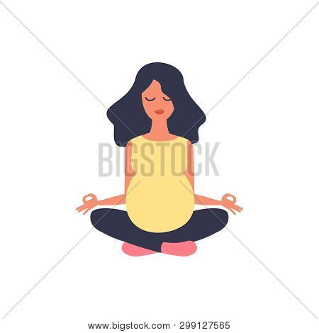 Beautiful Pregnant Woman. Yoga Illustration. Sport Exercise, Fitness, Workout. Health Care. Girl Spo