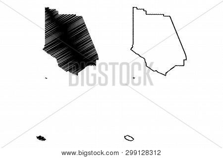 Ventura County, California (counties In California, United States Of America,usa, U.s., Us) Map Vect