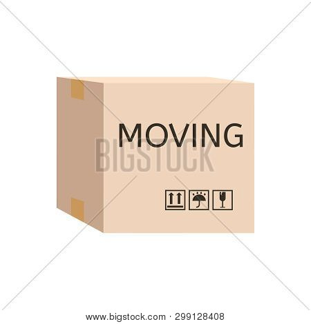Moving Carton Box. Cardboard Box Labelled Moving.