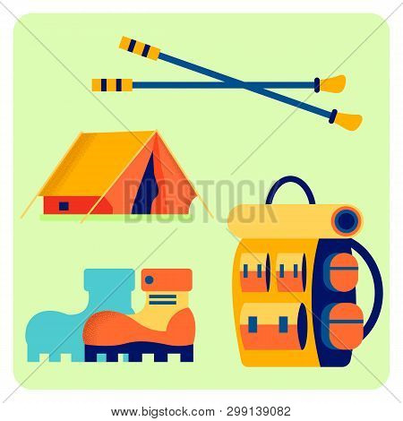 Camping Equipment Flat Vector Illustration Set. Outing Accessories, Trekking Tools. Backpack, Boots,