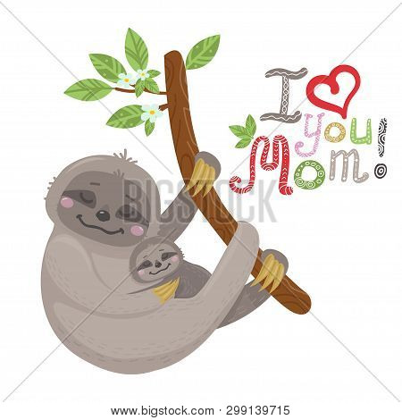Vector Cute Cartoon Mother Sloth With Baby