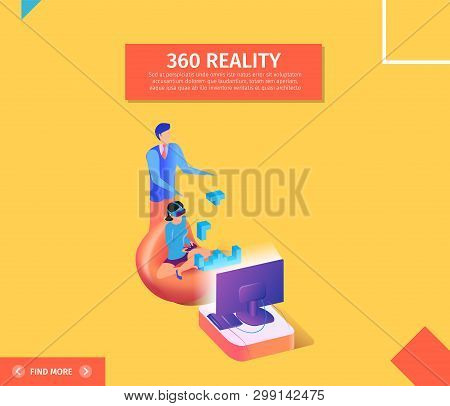 360 Reality Square Banner. Young Woman In Virtual Reality Glasses Sitting In Chair In Front Of Telev