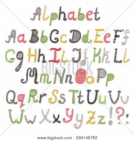 Vector Of Alphabet In Scandinavian Style. Vector Illustration For Your Design