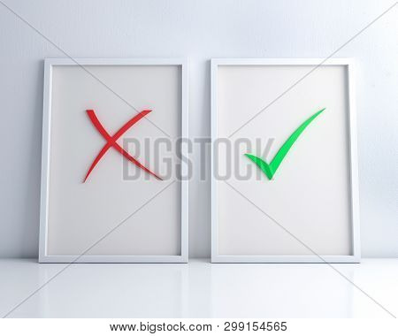 White Frames With Green Check Mark And Red Cross On The White Floor And Wall  3d Rendering.right And