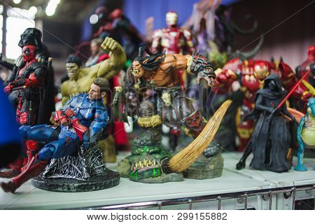 Saint Petersburg, Russia - April 27, 2019: Action Figures. Star Wars Characters And Superheroes From