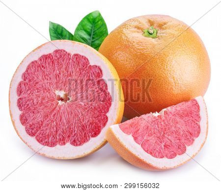 Grapefruit and grapefruit slices isolated on white background.