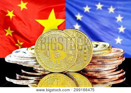 Bitcoins On The Background Of The Flag China And European Union. Concept For Investors In Cryptocurr