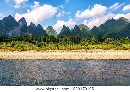 Beautiful Karst Mountains Along Li River