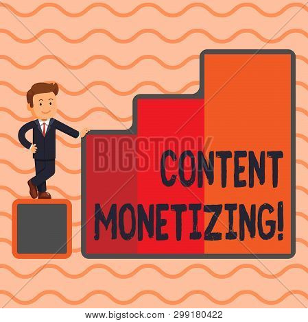 Word writing text Content Monetizing. Business concept for making money from content that exists on your website Happy Businessman Presenting Growth and Success in Rising Bar Graph Columns. poster