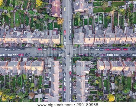 Aerial View Of Traditional Housing Estate In England. Looking Straight Down With A Satellite Image S