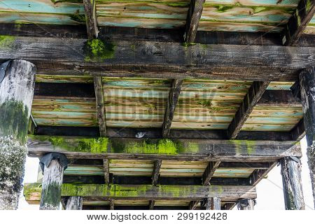 A View Looking Up From Beneath The Peir At Redondo Beach, Washington.