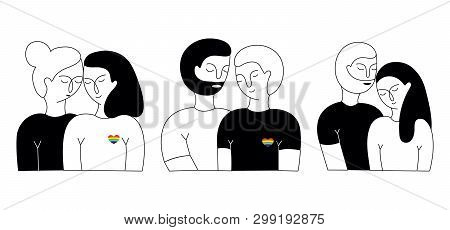 A Set Of Lisbian Couple, Gay Couple And Heterosexual Couple. Homosexual Relationships. Lgbt Couple.