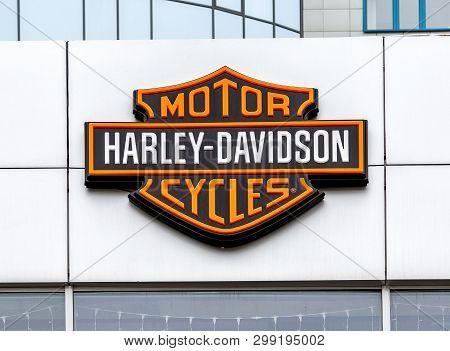 Samara, Russia - May 3, 2019: Logo Of Harley-davidson Inc. Is An American Motorcycle Manufacturer. H