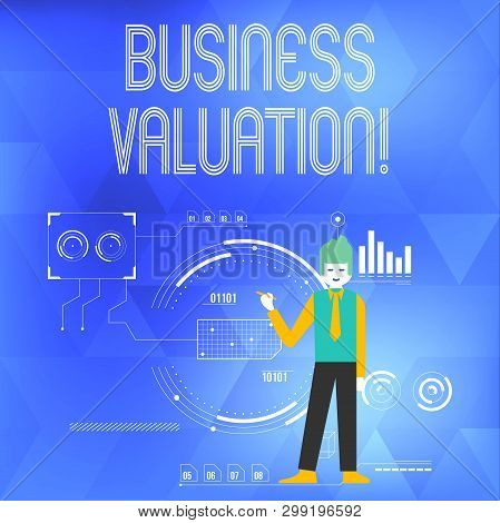 Word writing text Business Valuation. Business concept for determining the economic value of a whole business Man Standing Holding Pen Pointing to Chart Diagram with SEO Process Icons. poster