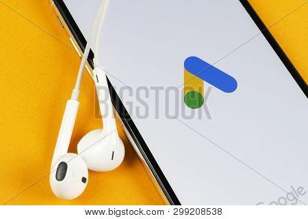 Helsinki, Finland, May 4, 2019: Google Ads Adwords Application Icon On Apple Iphone X Screen Close-u