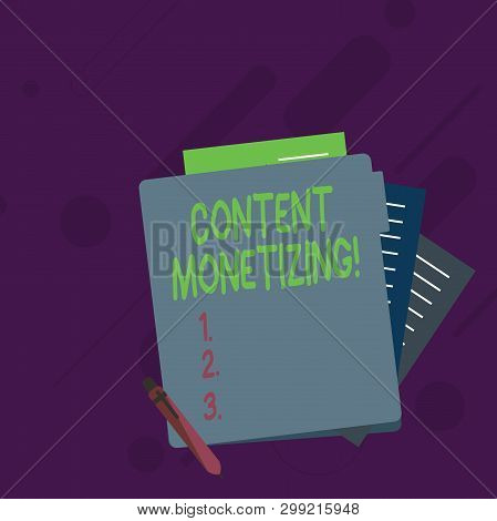 Conceptual hand writing showing Content Monetizing. Business photo showcasing making money from content that exists on your website Lined Paper Stationery Partly into View from Pastel Folder. poster