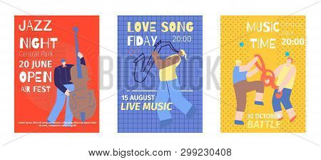 Music Festival Set Flat Invitation Color Poster Template Jazz Night Open Air Contrabass Love Sax Son