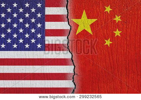 Flags United States And China Painted On Cracked  Wall