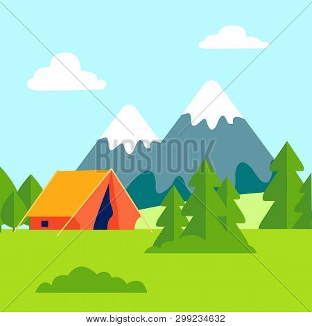 Green Glade, Open Air Camping Vector Illustration. Mountains Scenery With Forest. Tent Camp. Trekkin