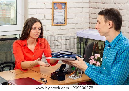 The Applicant For The Position At The Interview Pulls The Specialist Personnel Diplomas And Certific