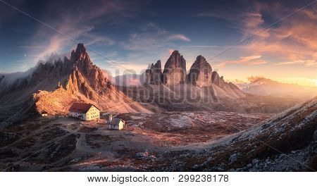 Mountain Valley With Beautiful House And Church At Sunset In Spring. Landscape With Buildings, High