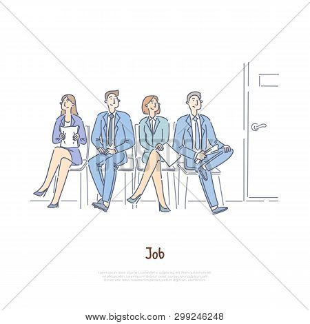 Unemployed Men And Women Sitting In Waiting Room, Vacancy Competition, Employment Agency, Recruitmen