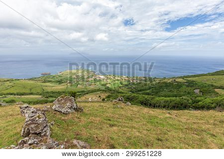 Pasture And Forest Above Ponta Delgada On The Island Of Flores In The Azores.