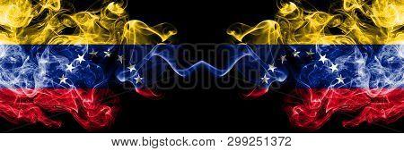Venezuela Vs Venezuela, Venezuelan Smoky Mystic Flags Placed Side By Side. Thick Colored Silky Smoke