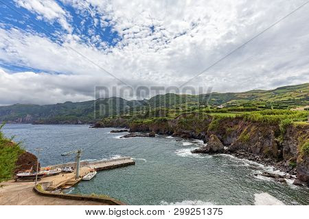 A Boat Launch And Dock In Ponta Delgada On The Island Of Flores In The Azores.