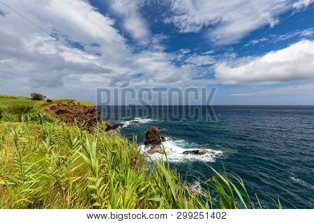Summer Sun Shows Off The Coastline Near Ponta Delgada On The Island Of Flores In The Azores.
