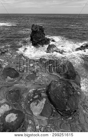 Black And White Coastal Scene In Ponta Delgada On The Island Of Flores In The Azores.
