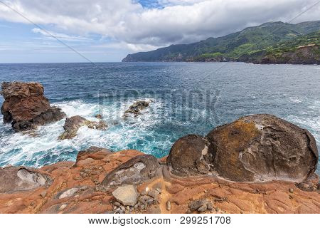 Colorful Lava Formations Below Ponta Delgada On The Island Of Flores In The Azores.