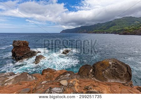View Of Flores Island From Ponta Delgada On The Island Of Flores In The Azores.