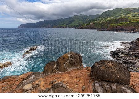 Dramatic View South From The Village Of Ponta Delgada On The Island Of Flores In The Azores.