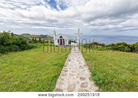 Clouds Float Above The Ermida De Sao Joao Baptista Chapel Above Ponta Delgada, On The Island Of Flor