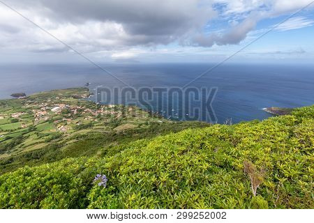 A Wide Angle View Of Ponta Delgada From Above On The Island Of Flores In The Azores.