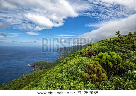 Beautiful Green Coastline Above The Small Village Of Ponta Delgada On The Island Of Flores In The Az
